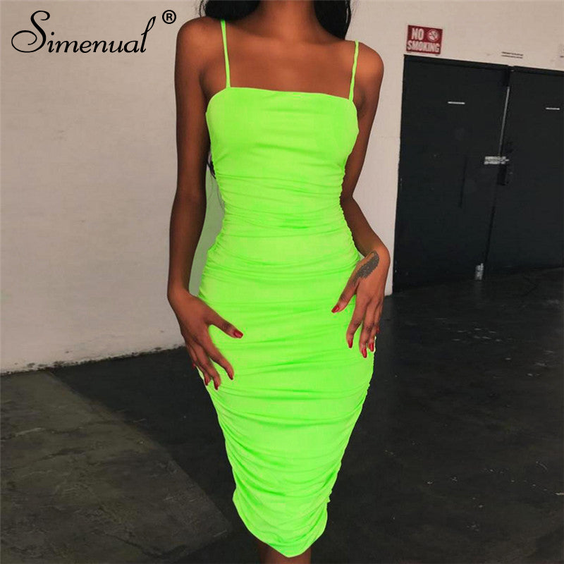 Simenual Strap sleeveless sexy bodycon dress neon color ruched wrapped chest dress women hot tank shoulder dresses spring summer