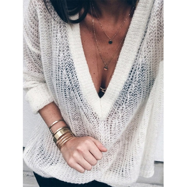Myhotstuff Knitted Over-sized V-Neck Sweater