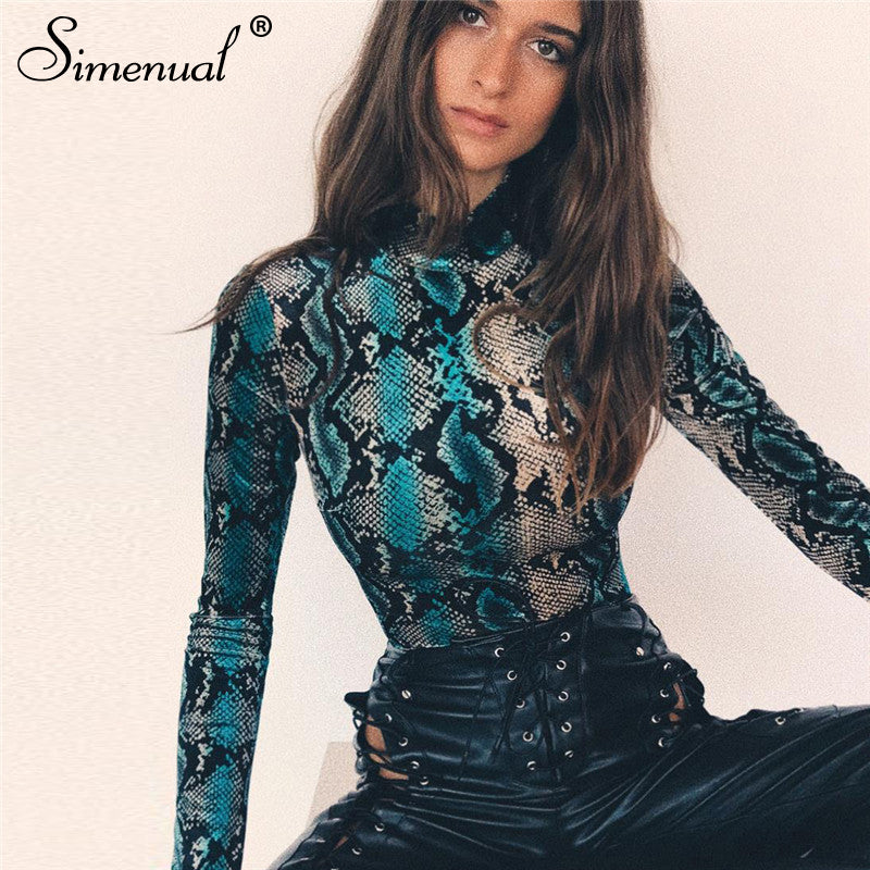 Simenual Snake Print Long Sleeve Bodysuit Sexy Hot Bodycon Rompers Women Jumpsuits Fashion Harajuku Streetwear 2019 Spring Tops