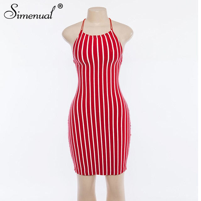 Simenual Vintage Backless Striped Halter Dresses Sexy Fashion Pencil Dress Women Bandage Bodycon Dress Lace Up Sleeveless Summer