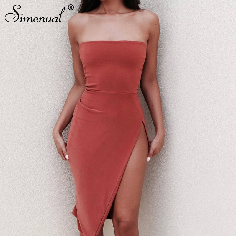 Simenual Side slit hot sexy strapless dress women solid fashion bodycon dresses streetwear sundress female summer 2019 casual