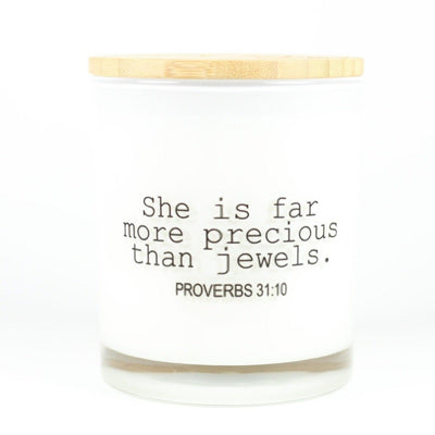 She is far more precious than jewels Candle