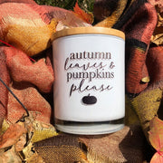 Autumn Leaves and Pumpkins Please Candle