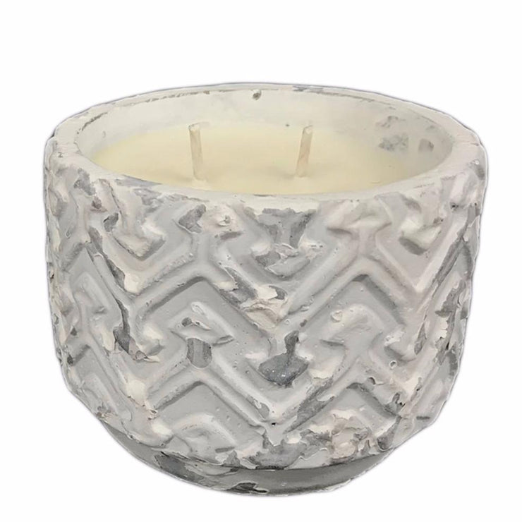 White Distressed Stone Candle