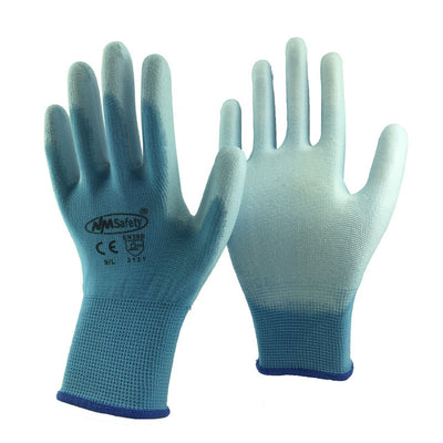 NMSAFETY 3 pairs Colorful Lightness Comfortable Polyester Work Gloves Cheap PU Working Safety Gloves