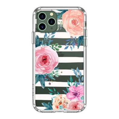 Girls Blossom Stripes Floral Flower Phone Case - iPhone 11 Pro Max Case