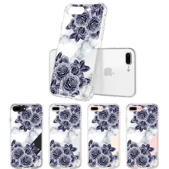 Marble with Purple Flowers Phone Case - iPhone 7 Plus Case