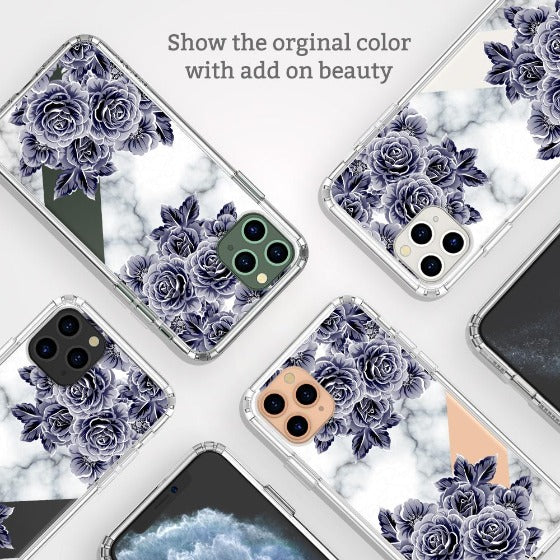 Marble with Purple Flowers Phone Case - iPhone 11 Pro Max Case