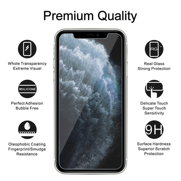 Premium Glass Screen Protector for iPhone 11 Pro Max (2 Pack) - [Easy Installation Kit include]