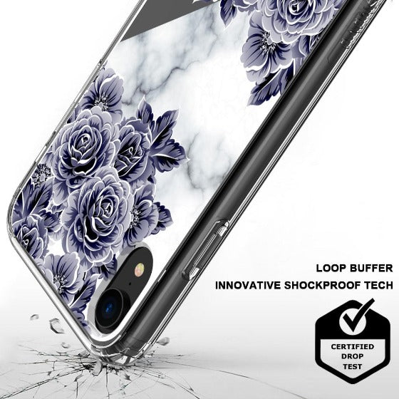 Marble with Purple Flowers Phone Case - iPhone XR Case