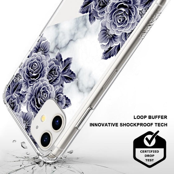 Marble with Purple Flowers Phone Case - iPhone 11 Case