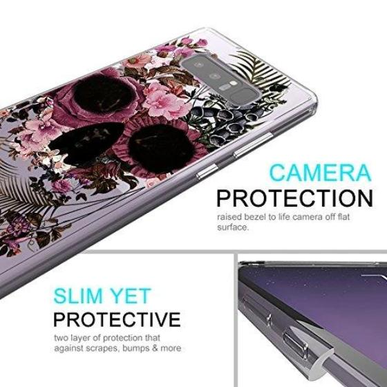 Cool Flower Skull Phone Case - Samsung Galaxy Note 8 Case
