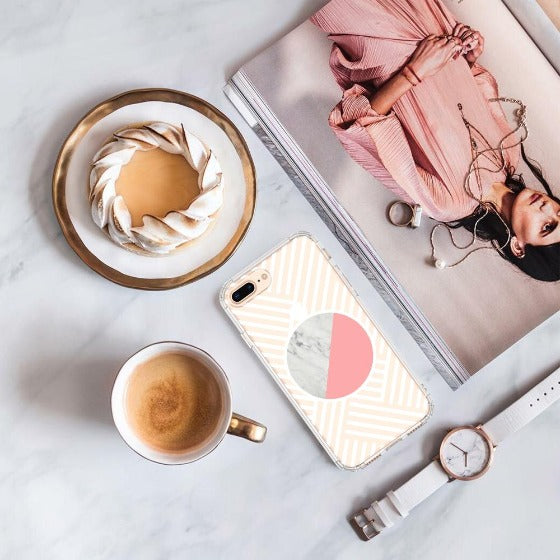 Pink White Marble Phone Case - iPhone 8 Plus Case