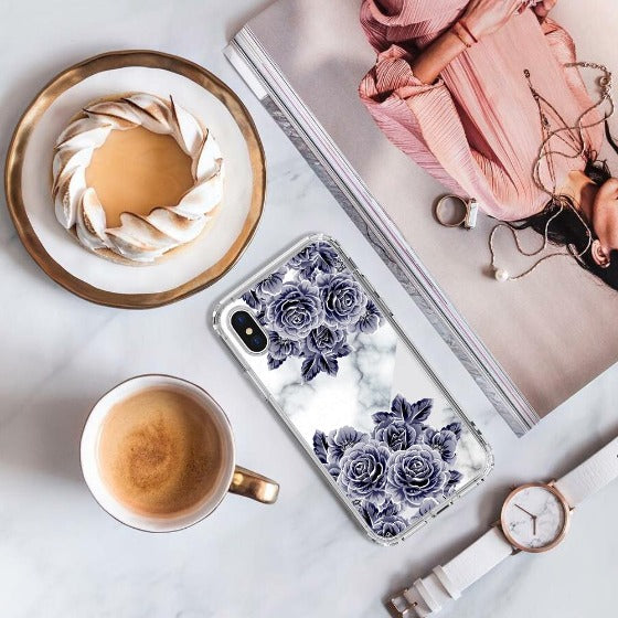 Marble with Purple Flowers Phone Case - iPhone XS Case