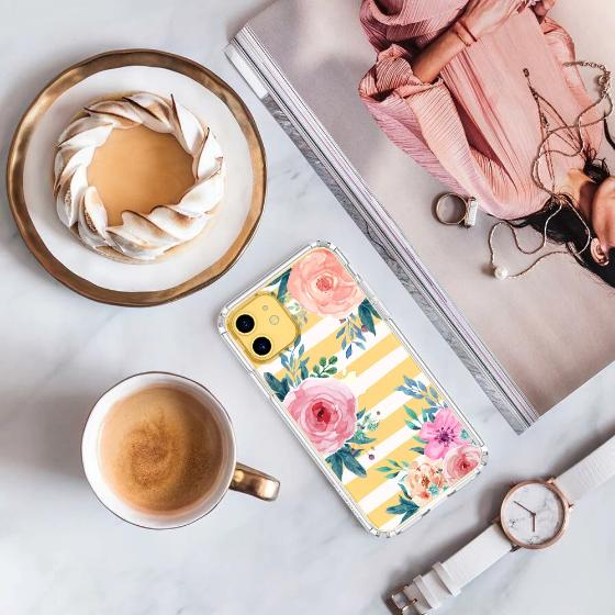 Girls Blossom Stripes Floral Flower Phone Case - iPhone 11 Case