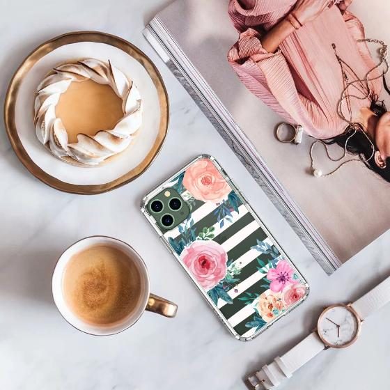 Girls Blossom Stripes Floral Flower Phone Case - iPhone 11 Pro Case
