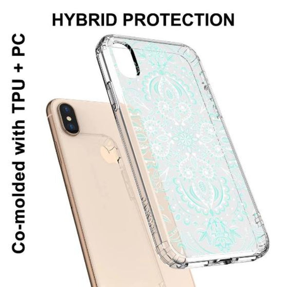 Aqua and White Mandala Phone Case - iPhone Xs Max Case