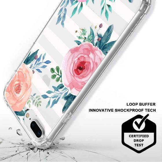 Girls Blossom Stripes Floral Flower Phone Case - iPhone 7 Plus Case