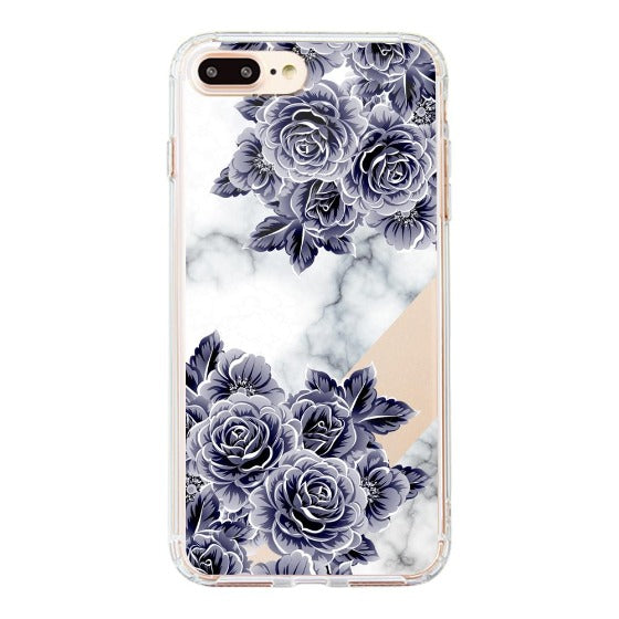 Marble with Purple Flowers Phone Case - iPhone 8 Plus Case