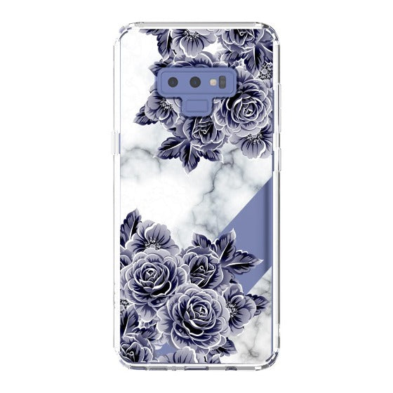 Marble with Purple Flowers Phone Case - Samsung Galaxy Note 9 Case