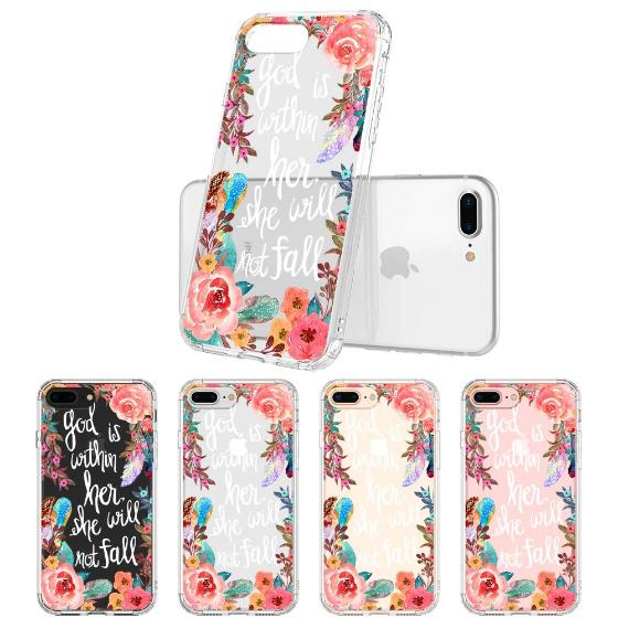 Floral Flower With Christian Quote Phone Case - iPhone 8 Plus Case