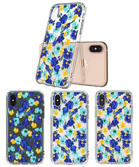 Bluish Flowers Floral Phone Case - iPhone Xs Max Case