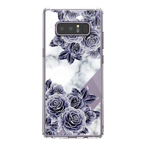 Marble with Purple Flowers Phone Case - Samsung Galaxy Note 8 Case