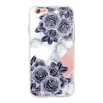 Marble with Purple Flowers Phone Case - iPhone 6/6S Case