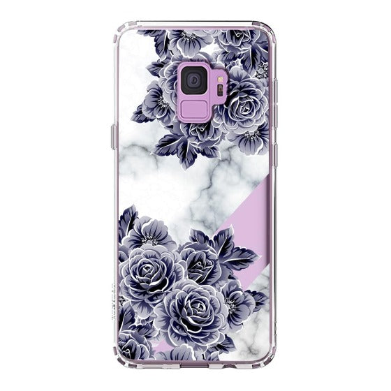 Marble with Purple Flowers Phone Case - Samsung Galaxy S9 Case