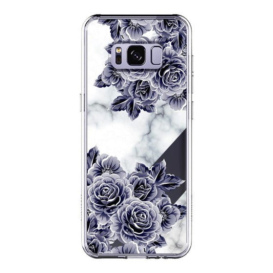 Marble with Purple Flowers Phone Case - Samsung Galaxy S8 Plus Case