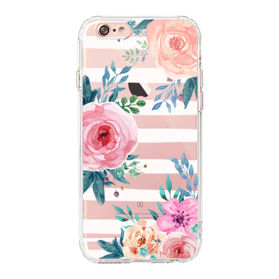 Girls Blossom Stripes Floral Flower Phone Case - iPhone 6 Plus/6S Plus Case