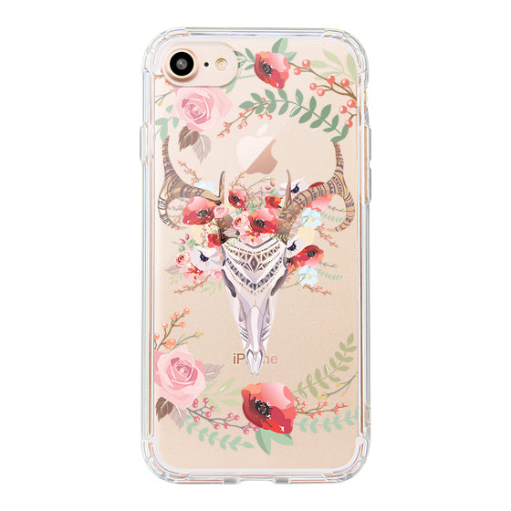 Floral Boho Skull Phone Case - iPhone 8 Case