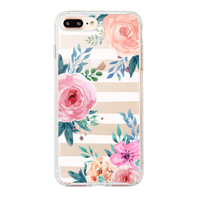 Girls Blossom Stripes Floral Flower Phone Case - iPhone 8 Plus Case