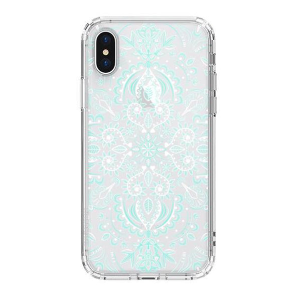 Aqua and White Mandala Phone Case - iPhone X Case