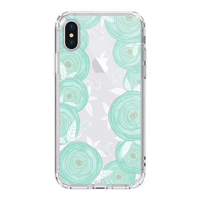 Mint Roses Phone Case - iPhone X Case