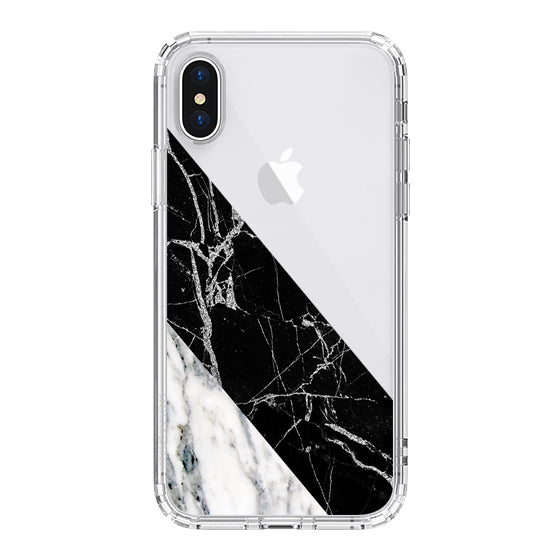 White Black Marble Phone Case - iPhone XS Case