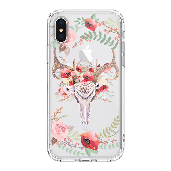 Floral Boho Skull Phone Case - iPhone X Case
