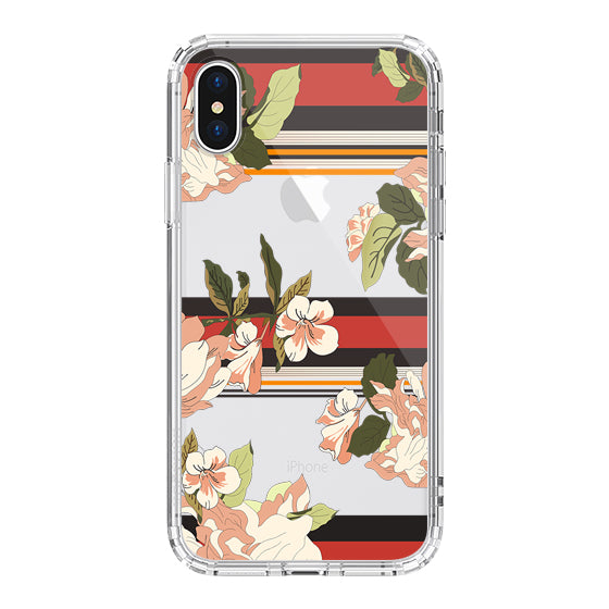 Stripes Flower Floral Phone Case - iPhone X Case