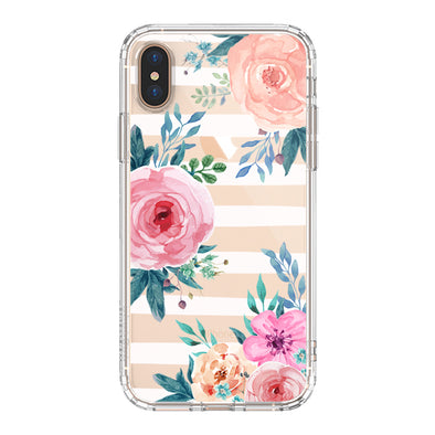 Girls Blossom Stripes Floral Flower Phone Case - iPhone Xs Max Case