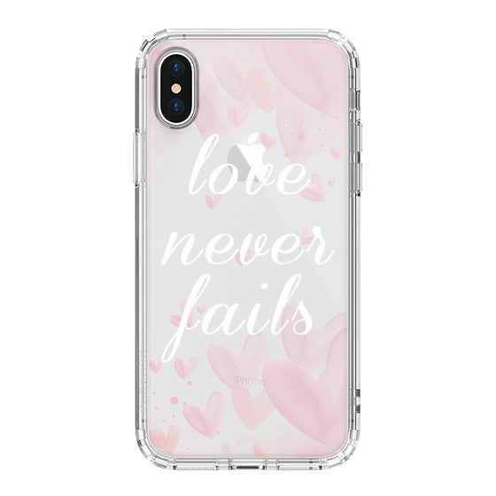 Love Never Fails Quotes Phone Case - iPhone XS Case
