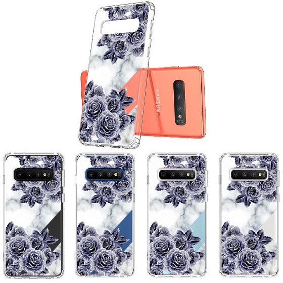Marble with Purple Flowers Phone Case - Samsung Galaxy S10 Case