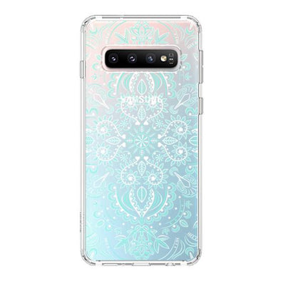 Aqua and White Mandala Phone Case - Samsung Galaxy S10 Case
