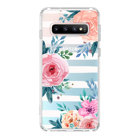 Girls Blossom Stripes Floral Flower Phone Case - Samsung Galaxy S10 Plus Case