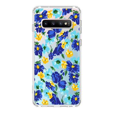 Bluish Flowers Floral Phone Case - Samsung Galaxy S10 Plus Case