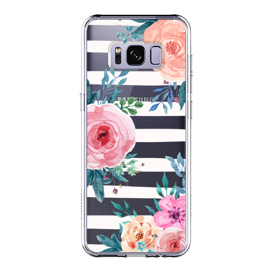 Girls Blossom Stripes Floral Flower Phone Case - Samsung Galaxy S8 Case