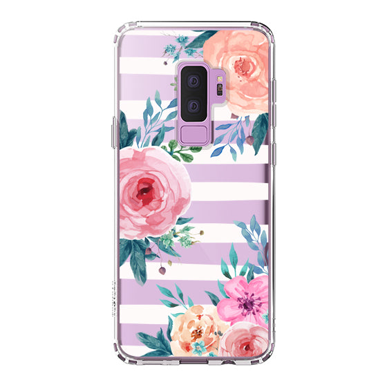 Girls Blossom Stripes Floral Flower Phone Case - Samsung Galaxy S9 Plus Case