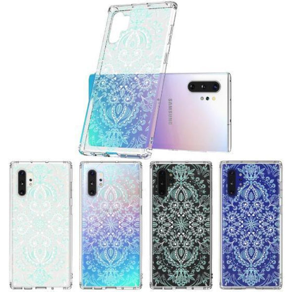 Aqua and White Mandala Phone Case - Samsung Galaxy Note 10 Plus Case