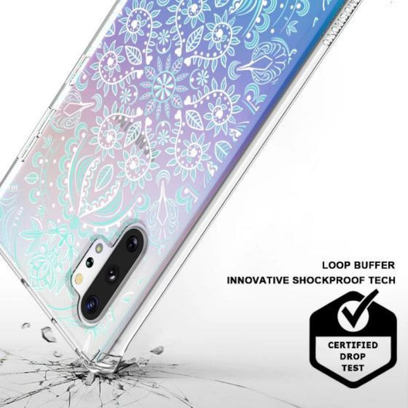 Aqua and White Mandala Phone Case - Samsung Galaxy Note 10 Plus 5G Case