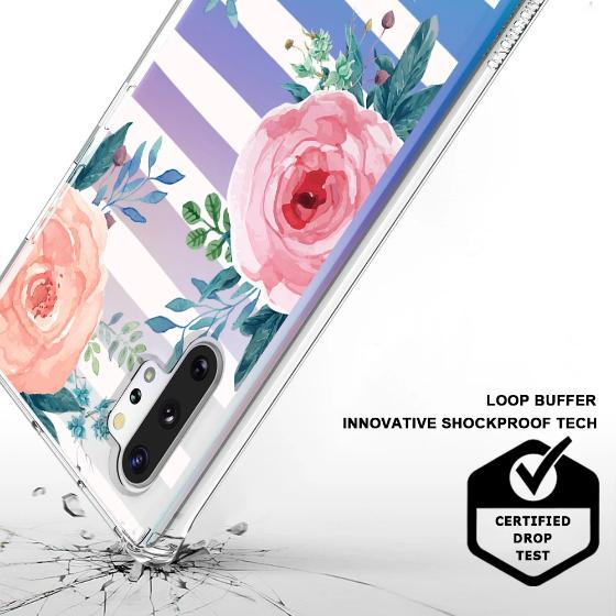 Girls Blossom Stripes Floral Flower Phone Case - Samsung Galaxy Note 10 Plus 5G Case