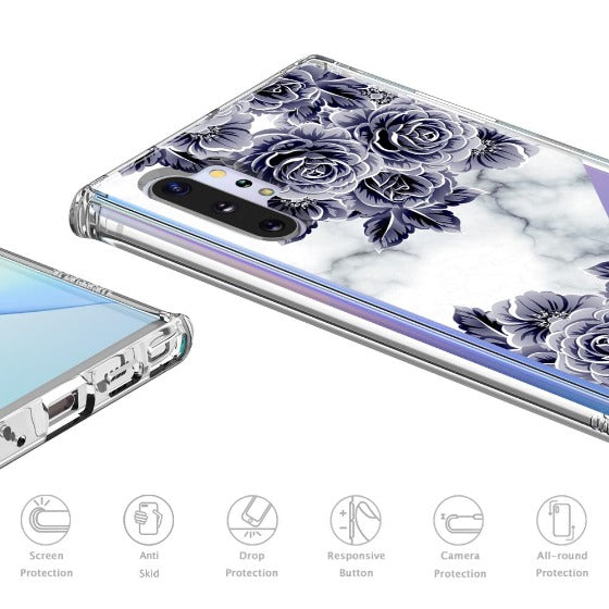 Marble with Purple Flowers Phone Case - Samsung Galaxy Note 10 Plus Case